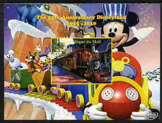 Mali 2010 The 55th Anniversary of Disneyland - Mickey Mouse Railway #01 imperf s/sheet unmounted mint. Note this item is privately produced and is offered purely on its thematic appeal