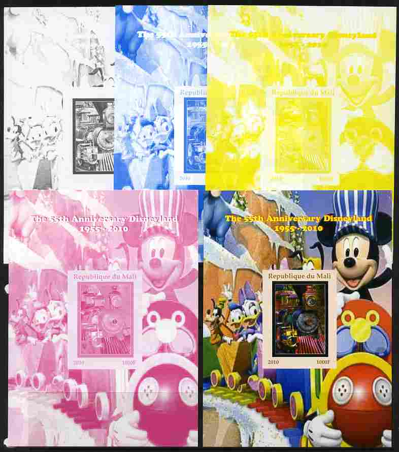 Mali 2010 The 55th Anniversary of Disneyland - Mickey Mouse Railway #03 s/sheet - the set of 5 imperf progressive proofs comprising the 4 individual colours plus all 4-colour composite, unmounted mint