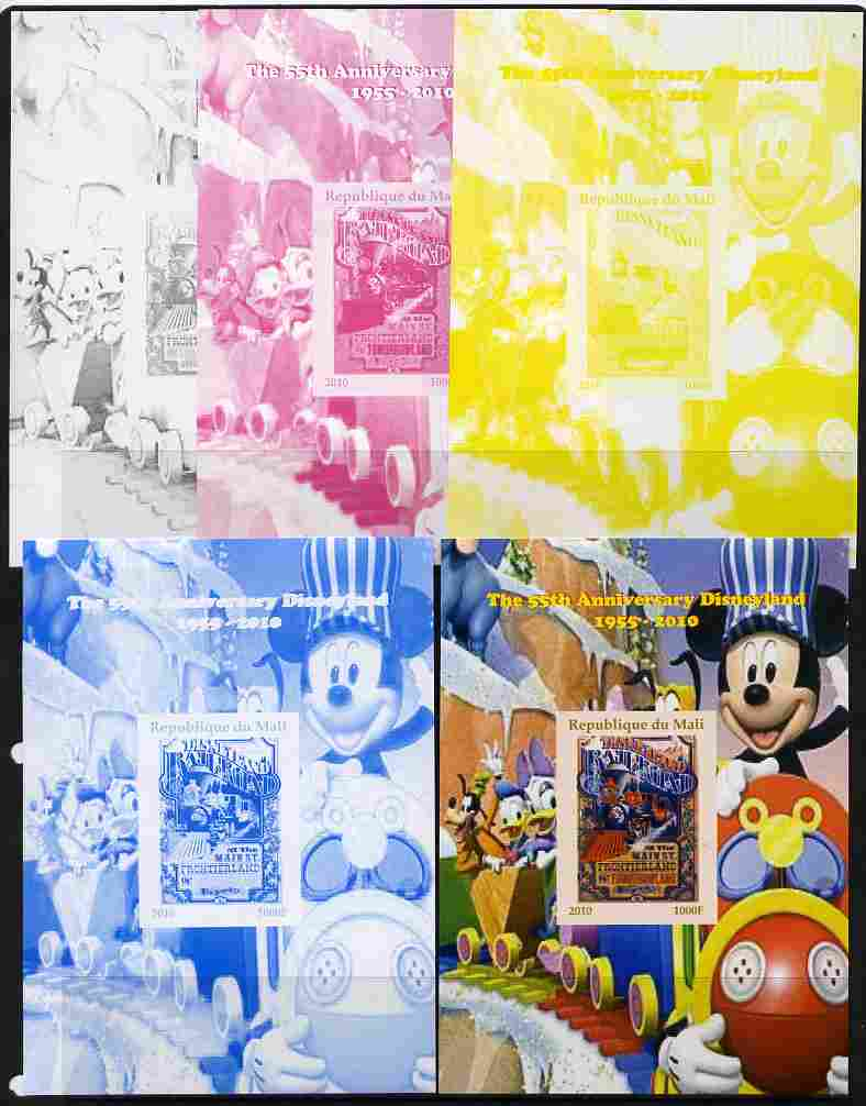 Mali 2010 The 55th Anniversary of Disneyland - Mickey Mouse Railway #04 s/sheet - the set of 5 imperf progressive proofs comprising the 4 individual colours plus all 4-colour composite, unmounted mint