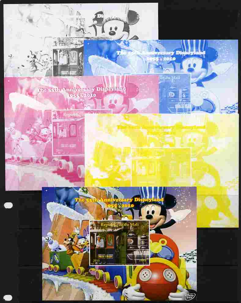 Mali 2010 The 55th Anniversary of Disneyland - Mickey Mouse Railway #06 s/sheet - the set of 5 imperf progressive proofs comprising the 4 individual colours plus all 4-colour composite, unmounted mint