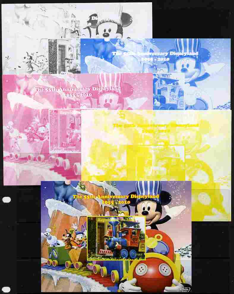 Mali 2010 The 55th Anniversary of Disneyland - Mickey Mouse Railway #07 s/sheet - the set of 5 imperf progressive proofs comprising the 4 individual colours plus all 4-colour composite, unmounted mint
