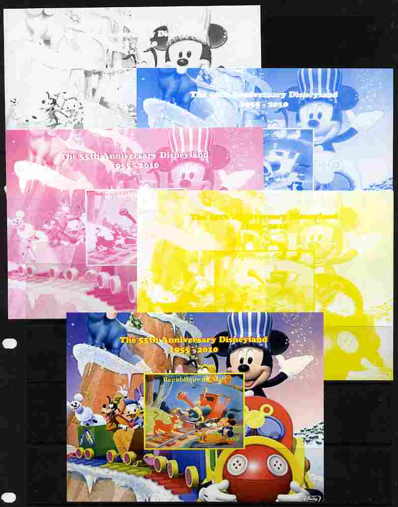 Mali 2010 The 55th Anniversary of Disneyland - Mickey Mouse Railway #08 s/sheet - the set of 5 imperf progressive proofs comprising the 4 individual colours plus all 4-colour composite, unmounted mint