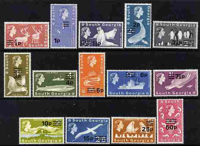 Falkland Islands Dependencies - South Georgia 1971-76 Decimal Currency surcharged definitive set of 14 complete unmounted mint SG 18-31a