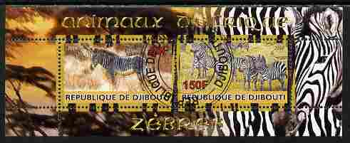 Djibouti 2010 Animals of Africa - Zebra perf sheetlet containing 2 values fine cto used