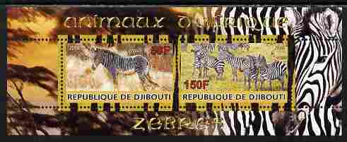 Djibouti 2010 Animals of Africa - Zebra perf sheetlet containing 2 values unmounted mint