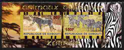 Djibouti 2010 Animals of Africa - Zebra imperf sheetlet containing 2 values unmounted mint