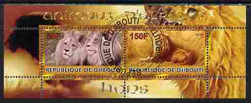 Djibouti 2010 Animals of Africa - Lions perf sheetlet containing 2 values fine cto used