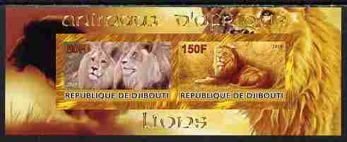 Djibouti 2010 Animals of Africa - Lions imperf sheetlet containing 2 values unmounted mint