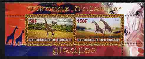 Djibouti 2010 Animals of Africa - Giraffes perf sheetlet containing 2 values unmounted mint