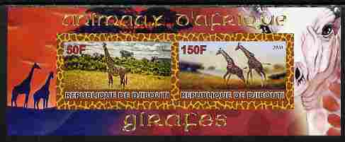 Djibouti 2010 Animals of Africa - Giraffes imperf sheetlet containing 2 values unmounted mint