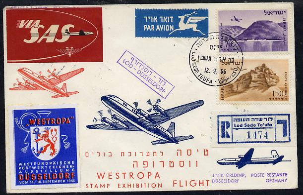 Israel 1955 SAS reg flight cover to Germany for 'Westropa' Stamp Exhibition, bearing special Westropa label, Air stamps with various handstamps and backstamps