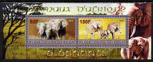 Djibouti 2010 Animals of Africa - Elephants perf sheetlet containing 2 values unmounted mint