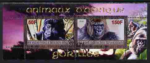 Djibouti 2010 Animals of Africa - Gorillas perf sheetlet containing 2 values fine cto used