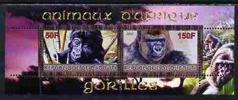 Djibouti 2010 Animals of Africa - Gorillas perf sheetlet containing 2 values unmounted mint