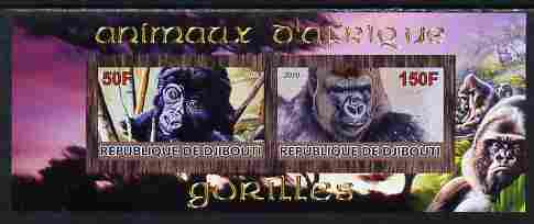 Djibouti 2010 Animals of Africa - Gorillas imperf sheetlet containing 2 values unmounted mint