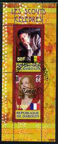Djibouti 2010 Famous Scouts - Isabel Huppert & Jacques Brel perf sheetlet containing 2 values fine cto used