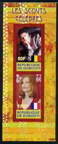 Djibouti 2010 Famous Scouts - Isabel Huppert & Jacques Brel imperf sheetlet containing 2 values unmounted mint