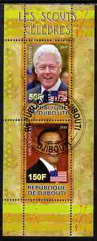 Djibouti 2010 Famous Scouts - Bill Clinton & Barack Obama perf sheetlet containing 2 values fine cto used