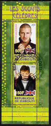 Djibouti 2010 Famous Scouts - David Beckham & Paul McCartney perf sheetlet containing 2 values fine cto used