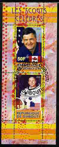 Djibouti 2010 Famous Scouts - Neil Armstrong & Marc Garneau perf sheetlet containing 2 values fine cto used
