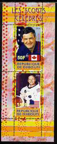 Djibouti 2010 Famous Scouts - Neil Armstrong & Marc Garneau perf sheetlet containing 2 values unmounted mint