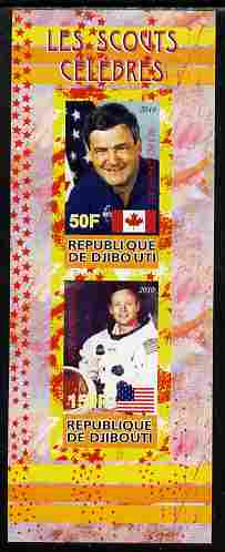 Djibouti 2010 Famous Scouts - Neil Armstrong & Marc Garneau imperf sheetlet containing 2 values unmounted mint