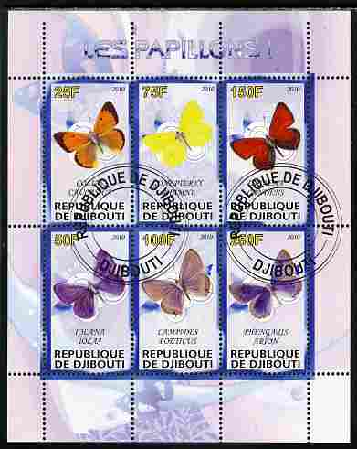 Djibouti 2010 Butterflies #01 perf sheetlet containing 6 values fine cto used