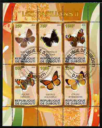 Djibouti 2010 Butterflies #02 perf sheetlet containing 6 values fine cto used