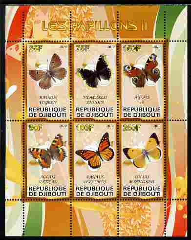 Djibouti 2010 Butterflies #02 perf sheetlet containing 6 values unmounted mint