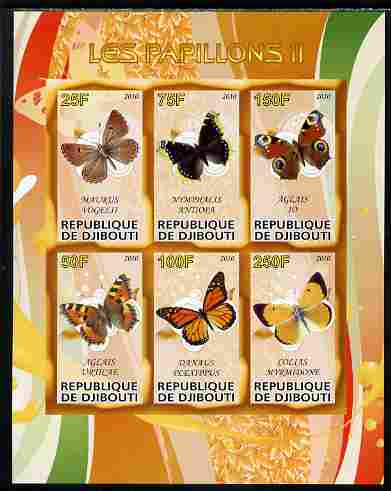 Djibouti 2010 Butterflies #02 imperf sheetlet containing 6 values unmounted mint