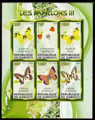 Djibouti 2010 Butterflies #03 imperf sheetlet containing 6 values unmounted mint, stamps on butterflies