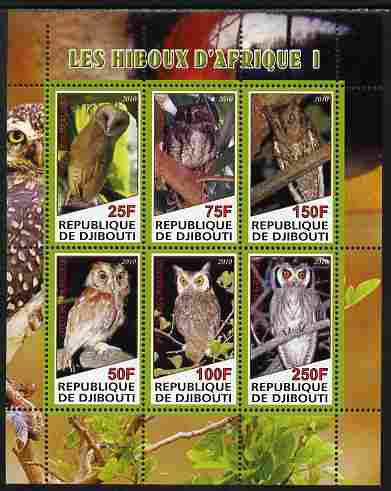 Djibouti 2010 African Owls #01 perf sheetlet containing 6 values unmounted mint