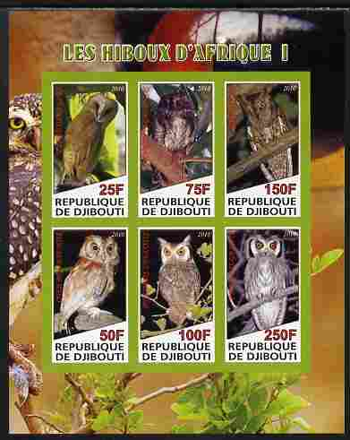 Djibouti 2010 African Owls #01 imperf sheetlet containing 6 values unmounted mint