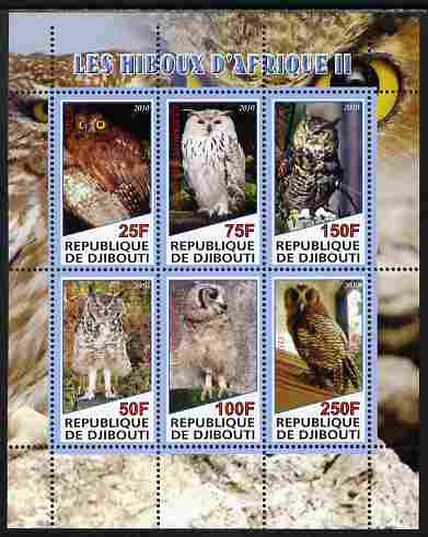 Djibouti 2010 African Owls #02 perf sheetlet containing 6 values unmounted mint