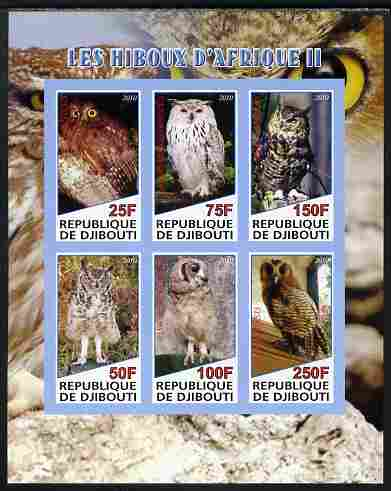 Djibouti 2010 African Owls #02 imperf sheetlet containing 6 values unmounted mint