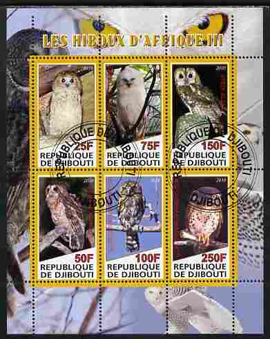 Djibouti 2010 African Owls #03 perf sheetlet containing 6 values fine cto used