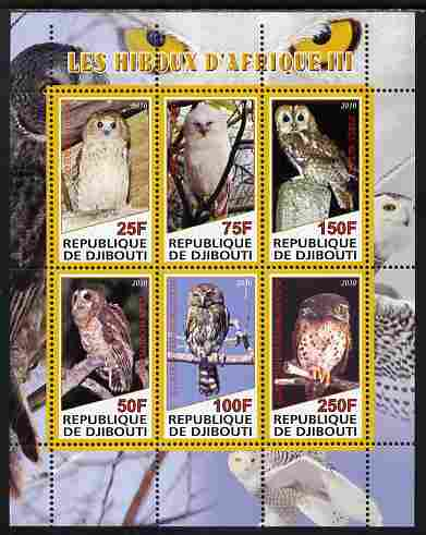 Djibouti 2010 African Owls #03 perf sheetlet containing 6 values unmounted mint