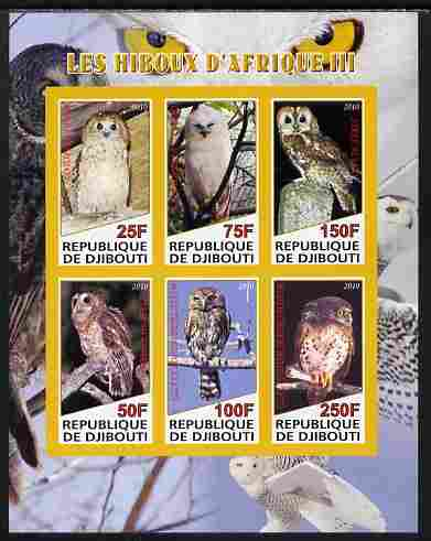 Djibouti 2010 African Owls #03 imperf sheetlet containing 6 values unmounted mint