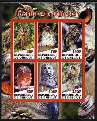Djibouti 2010 African Owls #04 imperf sheetlet containing 6 values unmounted mint