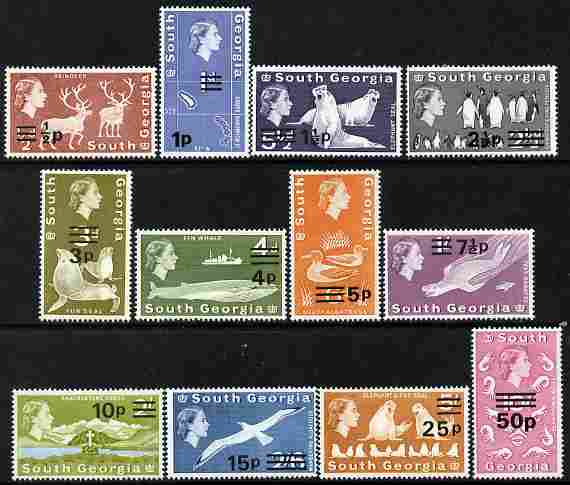 Falkland Islands Dependencies - South Georgia 1977-78 Decimal Currency surcharged set of 12 unmounted mint SG 53-66