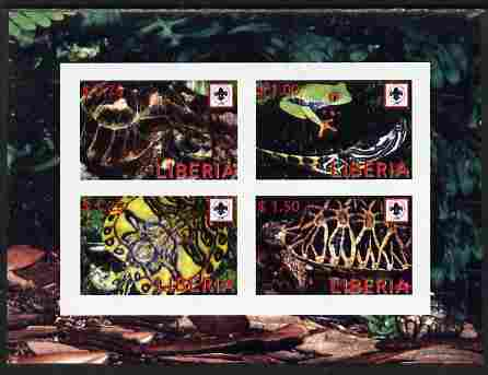 Liberia 2008 Turtles imperf sheetlet containing 4 values each with Scouts Logo unmounted mint