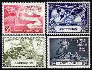 Ascension 1949 KG6 75th Anniversary of Universal Postal Union set of 4 unmounted mint, SG52-55, stamps on , stamps on  kg6 , stamps on  upu , stamps on