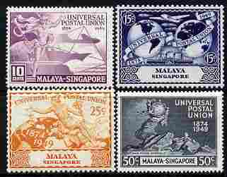 Singapore 1949 KG6 75th Anniversary of Universal Postal Union set of 4 unmounted mint, SG 33-36