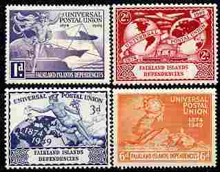 Falkland Islands Dependencies 1949 KG6 75th Anniversary of Universal Postal Union set of 4 unmounted mint, SG G21-4