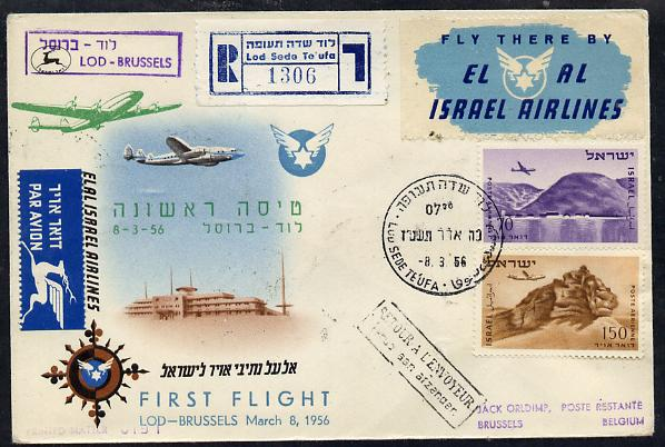 Israel 1956 El-Al Israel Airlines reg first flight illustrated cover to Brussels bearing Air stamps with various handstamps & backstamps