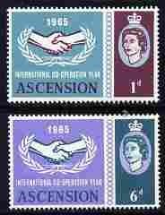 Ascension 1965 International Co-operation Year set of 2 unmounted mint SG 220-21