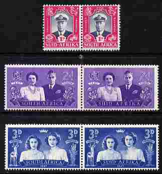 South Africa 1947 KG6 Royal Visit set of 6 (3 bi-lingual horiz pairs) unmounted mint SG 111-13