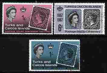Turks & Caicos Islands 1967 Stamp Centenary perf set of 3 cto used, SG 288-90