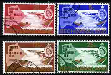 Bechuanaland 1965 New Constitution (Dam & Map) set of 4 the 2.5c with inverted watermark all fine cds used, SG 186-89