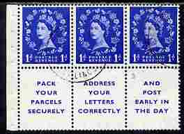 Booklet Pane - Great Britain 1955-58 Wilding 1d ultramarine Edward Crown booklet pane of 6 (3 stamps plus Pack Your Parcels Securely) with upright watermark fine used wit...